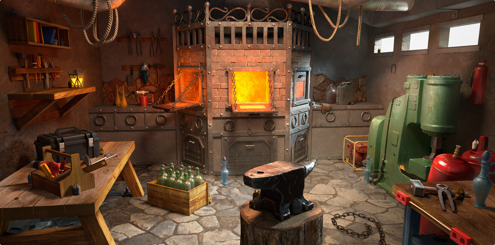 Game interior design, 3d modeling and rendering for a mobile game: Barn and Forge