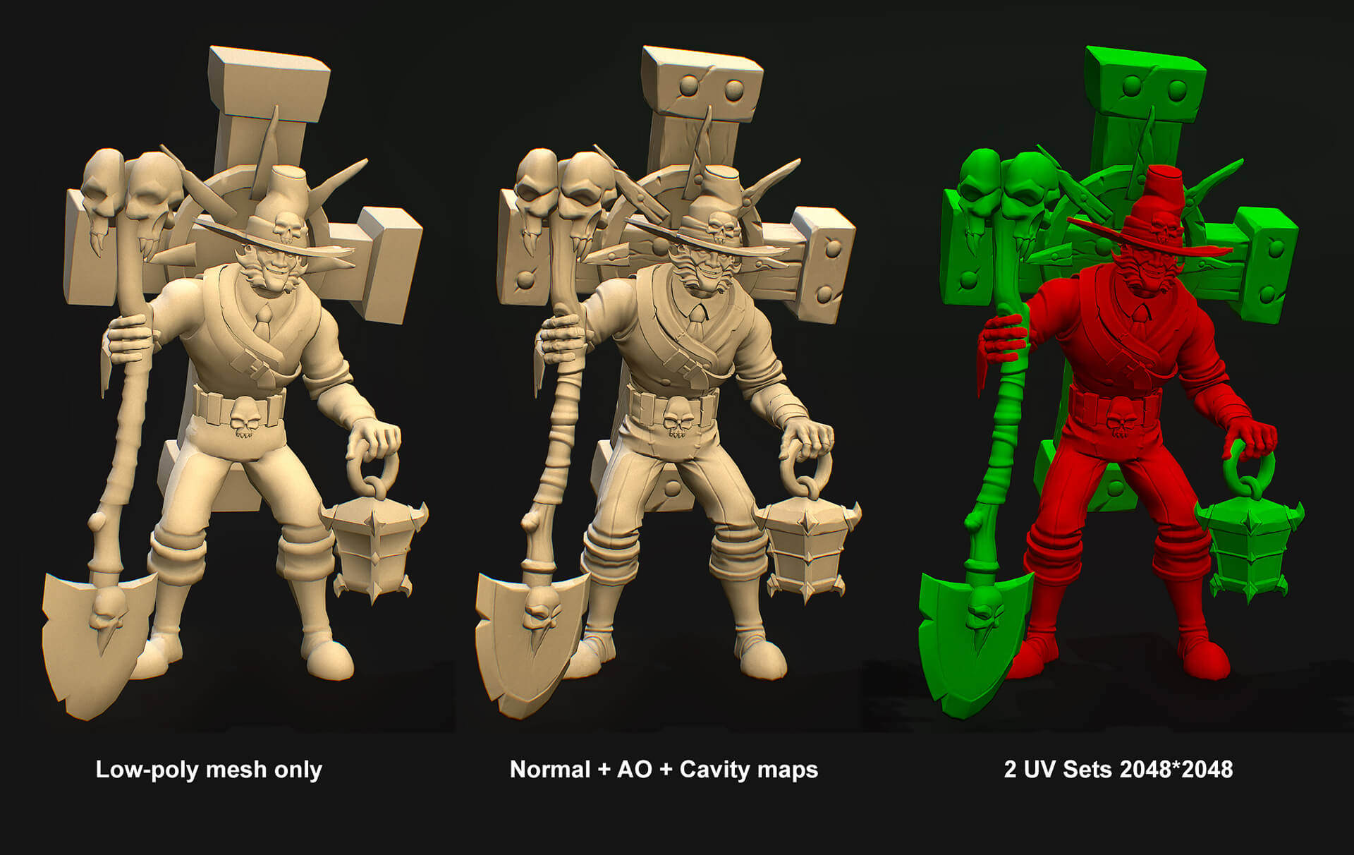 Low poly model of the character